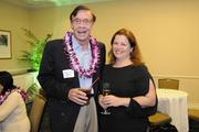 Andre Tatibouet, president of Hawaii Hotel Consultants, talks with PBN Managing Editor Janis Magin at a VIP reception prior to PBN's anniversary gala recognizing Hawaii's most influential businesses and executives at the Hilton Hawaiian Village Waikiki Beach Resort.