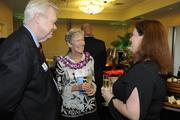 Valerie Ossipoff, center, daughter of the late architect Vladimir Ossipoff, talks with Pacific Business News Print Editor Jim George and Managing Editor Janis Magin at a VIP reception prior to PBN's anniversary gala recognizing Hawaii's most influential businesses and executives at the Hilton Hawaiian Village Waikiki Beach Resort.