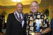 Pacific Business News Publisher Bob Charlet, left, and Outrigger Enterprises Group President and CEO David Carey pose for a photo at a VIP reception prior to PBN's 50th anniversary gala at the Hilton Hawaiian Village Waikiki Beach Resort.