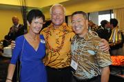 From left, PBN's Barbara Wallace, Honolulu Mayor Kirk Caldwell and The Queen's Medical Center's Mark Yamanaka at a VIP reception before PBN's 50th anniversary gala recognizing Hawaii's most influential businesses and executives at the Hilton Hawaiian Village Waikiki Beach Resort.