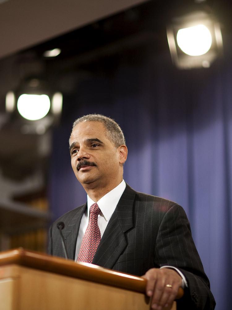 Eric Holder, U.S. attorney general, handed down a $7B penalty to Citigroup for misdeeds related to mortgage-backed securities. Photographer: Joshua Roberts/Bloomberg *** Local Caption *** Eric Holder
