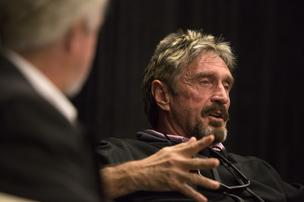 John McAfee pitched his idea for new Web security company and talked about his life on the lam from Belize, his drug use (and warnings to the crowd not to follow in his footsteps) at the C2SV tech and music show in San Jose.