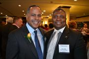 Honoree Chip Ellis, left, president and CEO of Ellis Development Group, with Theo Bell of EpicConsulting at the 2013 Minority Business Leader Awards.