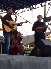 Veteran bluegrass musicians Jon Randall (right, on guitar) and John Jorgenson (left, on mandolin) with the John Jorgenson Bluegrass Band take the City Plaza stage on Saturday afternoon.