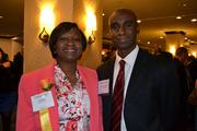 Honoree Ola Sage, CEO of e-Management, with Dennis Powell at the 2013 Minority Business Leader Awards.