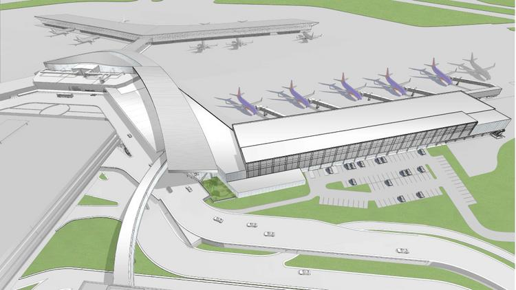 Southwest's planned international terminal at Hobby airport will have five gates. Houston Airport System expects to begin complementary roadway modifications on April 28.