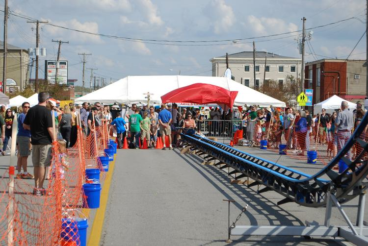 A Mini Makers Faire, complete with a one-seat roller coaster, was new to this year's NuLu Festival.