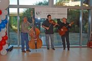 Musicians greeted visitors Monday at Fidelity Investments' Westlake campus.