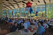 Some of the roughly 5,000 employees at Fidelity Investments' Westlake campus listen to Abby Johnson, president of Fidelity Financial Services, talk about the company's 30-year tradition in Texas.