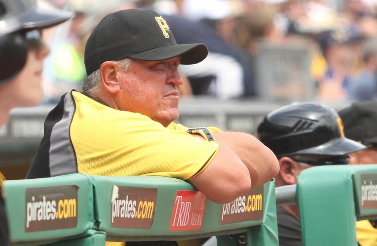 Pittsburgh Pirates manager Clint Hurdle watches Jeanmar Gomez pitch during the Pirates-Marlins game Aug. 8 at PNC Park.