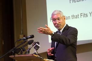 Richard Onizuka, CEO, Washington Health Benefit Exchange, speaks at a launch of Washington Healthplanfinder.