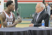 Larry Sanders spoke with Fox Sports announcer Jim Paschke during Bucks media day at the Cousins Center.