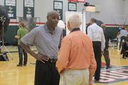 New coach Larry Drew made the rounds after his press conference.