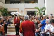 The atrium was quiet for Duckmaster Donald Tompkins' final story about the Peabody ducks.