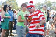 """Waldo"" pauses for a photo op seconds before jumping on stage with Southern Culture on the Skids at Charlotte Oktoberfest."
