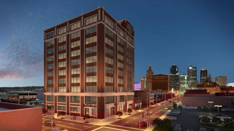 This rendering displays the historic Thomas Corrigan Building in the Crossroads Arts District. An investment group led by developer Alan Waterman is re-evaluating its plans to give the 10-story office tower new life as a luxury apartment project.