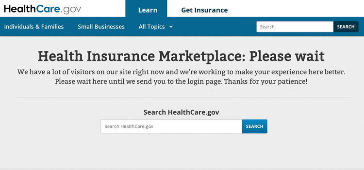 A screenshot of the new online health insurance marketplace at HealthCare.gov taken Tuesday morning just hours after the federally run marketplace launched.