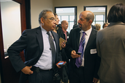 Legacy Health CEO Dr. George Brown and Oregon Health Authority Director Bruce Goldberg talk after the press conference