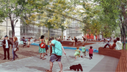 "The project includes a ""pocket park"" on Ninth Avenue."