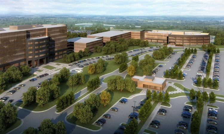 A rendering of Koch's future campus. The new building is at the top right of the image.