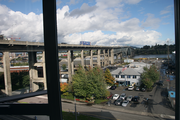 A view of the Ross Island Bridge from The Emery. The 118-unit apartment building was developed for the Zidell family and launches its vision of a 33-acre mixed use development at the South Waterfront.