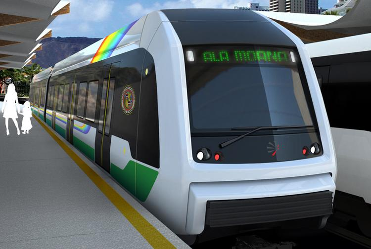This rendering shows what the rail cars will look like on Honolulu's rail transit system. The Honolulu Authority for Rapid Transportation on Thursday approved funding fr an additional 800 passenger seats for the rail cars.