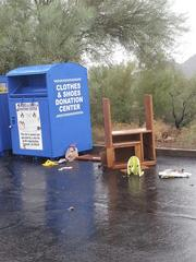 A donation bin at 7th St. and Thunderbird Road.