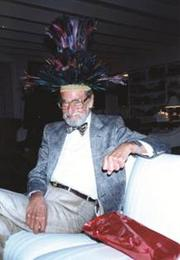 Theodor Seuss Geisel, a.k.a. Dr. Seuss, wearing one of his many hats.