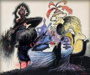 """A Dr. Seuss painting, """"Raising Money for the Arts,"""" which will be on view as part of Hats off to Dr. Seuss!"""