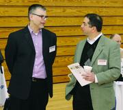 Nicholas Neupauer, left,  of Butler County Community College and Brian Kanterman of Computer Consultant Team