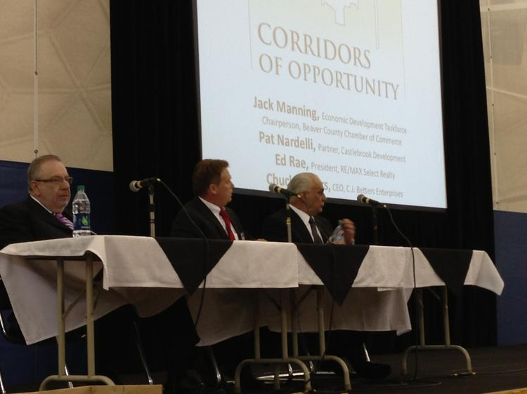 From left Pat Nardelli, partner in Castlebrook Development; Ed Rae, president of RE/Max Select Realty; and Chuck Betters, CEO of C.J. Betters Enterprises at Thursday afternoon's Corridors of Opportunities event on Beaver County at the Community College of Beaver County in Monaca.