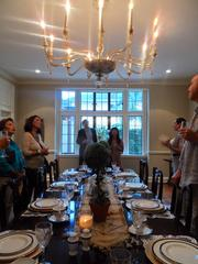 The dining room can seat up to 24 guests, and has the original Venetian glass chandelier. hobby