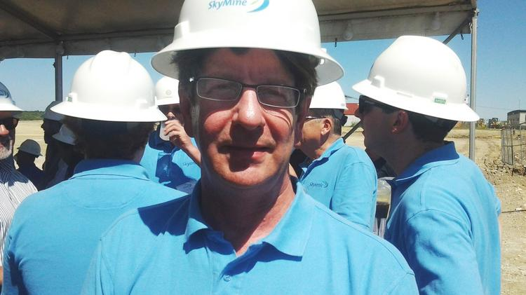 Joe Jones, founder and CEO of Skyonic, at the groundbreaking for the company's SkyMine project at Capitol Aggregates Inc. The company landed another $12.5 million to implement additional carbon-control technology at the cement plant.