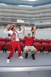 Longtime 49ers ticket holders celebrate their future digs at the team's new stadium in Santa Clara.