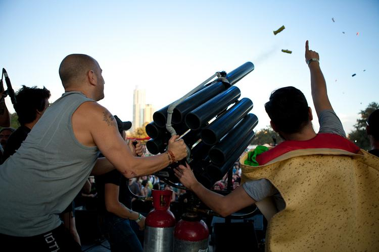 Transmission Events' taco cannon fires edibles into the crowd at last year's Fun Fun Fun Fest in Austin.