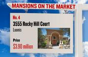 No. 4. 3555 Rocky Hill Court, Loomis, with an asking price of $3.90 million. The home, listed by Windermere Granite Bay Realtors, has 6 bedrooms, 7 full bathrooms and 3 half bathrooms. It is 13,137 square feet on 4.8 acres.