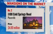 No. 2. 1100 Cold Springs Road, Placerville, with an asking price of $4.80 million. The home, listed by Lyon, has 5 bedrooms, 5 full bathrooms and 2 half bathrooms. It is 7,700 square feet on 115 acres.