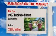 No. 7 (tie). 1957 Rockwood Drive, Sacramento, with an asking price of $3.60 million. The home, listed by Coldwell Banker, has 5 bedrooms, 6 full bathrooms and 1 half bathroom. It is 11,727 square feet on 1.7 acres.