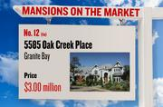 No. 12 (tie). 5585 Oak Creek Place, Granite Bay, with an asking price of $3.00 million. The home, listed by Lyon, has 6 bedrooms, 7 full bathrooms and 1 half bathroom. It is 8,700 square feet on 5 acres.
