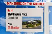 No. 14. 3120 Hopkins Place, El Dorado Hills, with an asking price of $2.95 million. The home, listed by Folsom Lake Realty, has 4 bedrooms, 5 full bathrooms and 2 half bathrooms. It is 8,310 square feet on 0.97 acres.