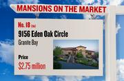 No. 18 (tie). 9156 Eden Oak Circle, Granite Bay, with an asking price of $2.75 million. The home, listed by Coldwell Banker, has 5 bedrooms, 4 full bathrooms and 2 half bathrooms. It is 6,601 square feet on 1.9 acres.