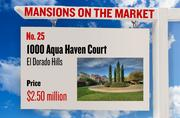 No. 25. 1000 Aqua Haven Court, El Dorado Hills, with an asking price of $2.50 million. The home, listed by Lyon, has 4 bedrooms, 5 full bathrooms and 1 half bathroom. It is 6,400 square feet on 5.01 acres.