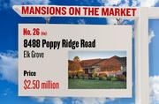 No. 26 (tie). 8488 Poppy Ridge Road, Elk Grove, with an asking price of $2.50 million. The home, listed by Elite Realty Services, has 4 bedrooms and 3 full bathrooms. It is 2,790 square feet on 19.55 acres.