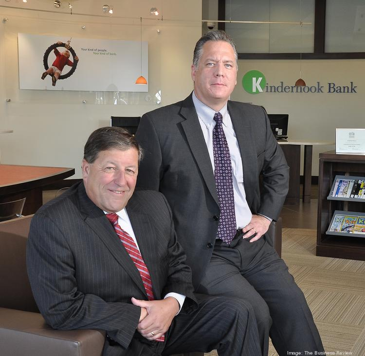 From left, Jeff Stone, former regional president for KeyBank in Albany, NY, joined Kinderhook Bank this year as senior vice president of retail and business development. Stone is pictured here with Kinderhook CEO John Balli at the bank's East Greenbush, NY branch.