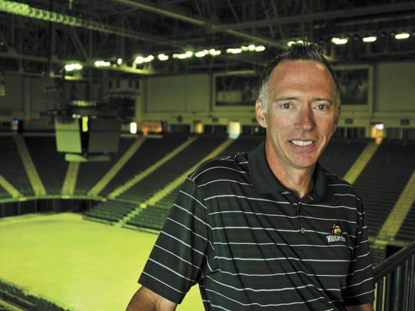 Flyin' High: Bob Grant, Wright State's athletic director, inside the upgraded Nutter Center, which should enhance Raider basketball this season.