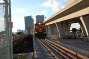 One of the other infrastructure changes: An FEC Railway train enters PortMiami via a repaired bridge. An intermodal yard at the port will allow assembly of entire trains.
