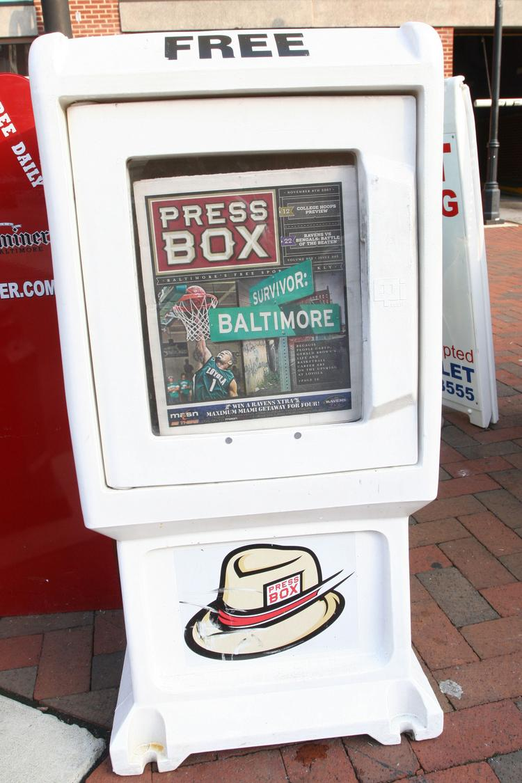 PressBox is expanding into Washington, D.C., through a new website. Above, a newspaper box in Baltimore.