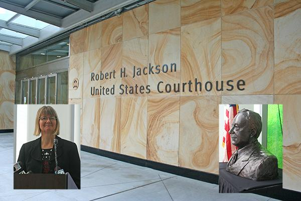 At the naming cermony for the Robert H. Jackson United States Courthouse was Jackson's grandaughter, Julia Craighill, left. The event also featured the unveiling of a bust of the Supreme Court justice.