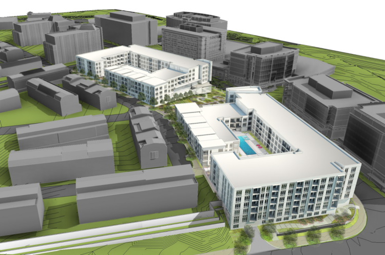 The Foulger-Pratt Cos. has broken ground on a two-building apartment community at its Park Potomac mixed-use development in Montgomery County.