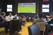 Zone 8: M8trix has one sports bar & grill, called Zone 8, as well as a cafe serving coffee and sandwiches, and a noodle restaurant. 42 flat-screen TVs decorate the walls at Zone 8, including two 200-inch HD screens.